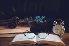 Primo piano dei vetri di lettura sul libro Fotografie Stock Libere da Diritti