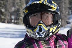 Primo piano del bambino in ingranaggio all'aperto di inverno Fotografia Stock Libera da Diritti