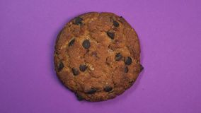 Primo piano del biscotto di pepita di cioccolato, macro colpo, filante lentamente su un fondo porpora girante archivi video