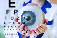 Primo piano del campione dell'occhio di oftalmologia immagini stock libere da diritti