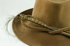 Primo piano del cappello di feltro della signora Immagini Stock Libere da Diritti