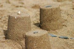 Primo piano del castello della sabbia Fotografia Stock