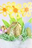 Primo piano del cestino di Pasqua Fotografia Stock