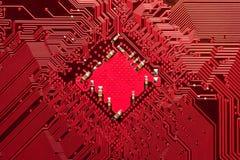 Primo piano del circuito del calcolatore nel colore rosso Immagine Stock Libera da Diritti