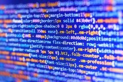 Primo piano del codice di Java Script, di CSS e del HTML immagini stock libere da diritti