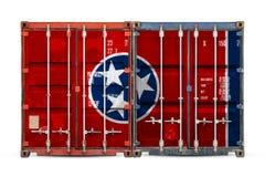 Primo piano del contenitore con la bandiera nazionale immagini stock libere da diritti