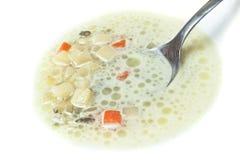 Primo piano del cucchiaio in minestra Fotografie Stock Libere da Diritti