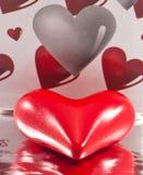 Primo piano del cuore dei biglietti di S. Valentino Fotografia Stock Libera da Diritti