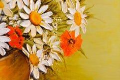 Primo piano del dettaglio della pittura a olio dei fiori del papavero e della margherita Fotografia Stock Libera da Diritti