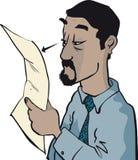 Primo piano del documento della lettura dell'uomo illustrazione vettoriale