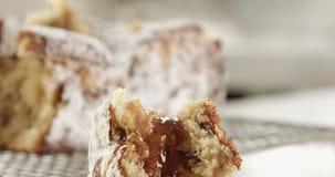 Primo piano del dolce della brioche Struttura del dolce con l'uva passa stock footage