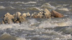 Primo piano del fiume della montagna, ruscello della primavera, insenatura con le pietre, rocce, vista della natura stock footage