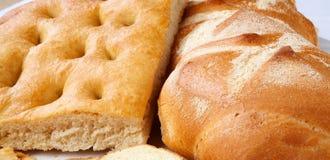 Primo piano del focaccia e del pane genoese. Fotografia Stock