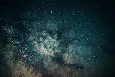 Primo piano del fondo della galassia della Via Lattea della Via Lattea Esposizione lunga immagine stock