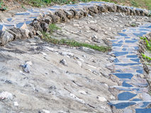 Primo piano del fondo di punti della roccia e del cemento Fotografie Stock