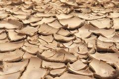 Primo piano del fondo incrinato asciutto della terra, deserto dell'argilla Fotografie Stock