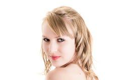 Primo piano del fronte di bella ragazza bionda Fotografia Stock Libera da Diritti