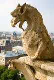 Primo piano del gargoyle sul Notre-Dame de Paris Fotografie Stock