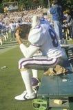Primo piano del giocatore di football americano dell'istituto universitario Immagine Stock Libera da Diritti