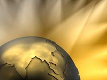 Primo piano del globo dell'oro, Asia Immagine Stock
