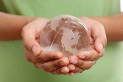 Primo piano del globo di vetro Fotografia Stock Libera da Diritti