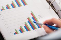 Primo piano del grafico finanziario Immagini Stock