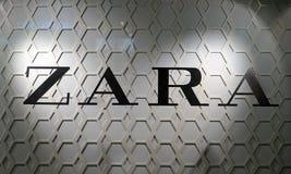 Primo piano del logo del deposito di modo di ZARA a Sydney CBD fotografie stock libere da diritti