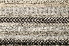 Primo piano del maglione tricottato Gray Colore grigio di struttura del tessuto, fondo caldo dettagliato del filato Frammento del Immagine Stock Libera da Diritti