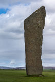 Primo piano del menhir all'anello del cerchio di pietra neolitico di Brodgar Fotografia Stock