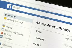 Primo piano del menu sinistro delle regolazioni di conto generale del sito Web del facebook fotografia stock libera da diritti