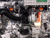 Primo piano del motore diesel del camion Immagine Stock