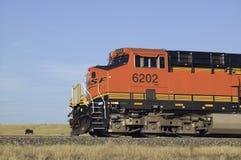 Primo piano del motore rosso del treno Immagini Stock