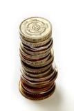 Primo piano del mucchio delle monete Fotografia Stock
