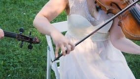 Primo piano del musicista che gioca violino, musica classica stock footage