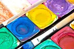 Primo piano del Paint-box Fotografia Stock Libera da Diritti
