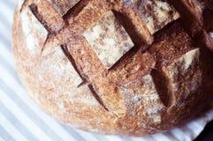 Primo piano del pane crostoso dell'artigiano del lievito naturale Immagine Stock Libera da Diritti