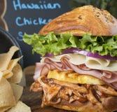 Primo piano del panino di pollo hawaiano sontuoso Fotografia Stock Libera da Diritti