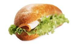 Primo piano del panino di submarin del prosciutto Fotografia Stock