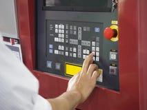Primo piano del pannello di controllo della macchina di CNC Fotografia Stock