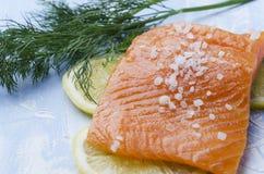 Primo piano del pezzo di salmone, aneto, seasalt, fette di limone sulla tavola blu fotografie stock libere da diritti