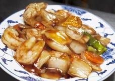 Primo piano del piatto del cinese dei frutti di mare Immagine Stock Libera da Diritti