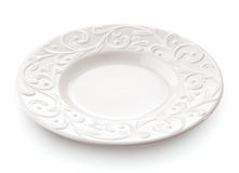 Primo piano del piatto della porcellana isolato su fondo bianco Immagine Stock Libera da Diritti