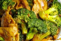 Primo piano del pollo del broccolo Fotografia Stock