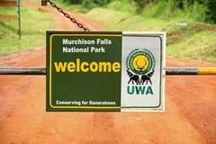 Primo piano del portone dell'entrata del parco nazionale di Murchison Falls Fotografie Stock