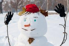 Primo piano del pupazzo di neve sorridente Fotografia Stock Libera da Diritti