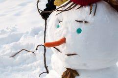 Primo piano del pupazzo di neve sorridente con i baffi Immagini Stock