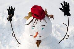 Primo piano del pupazzo di neve sorridente con i baffi Immagine Stock