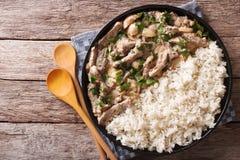 Primo piano del riso e del filetto alla Stroganoff su un piatto La cima orizzontale rivaleggia Fotografie Stock Libere da Diritti