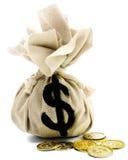 Primo piano del segno del dollaro sul sacco Fotografie Stock