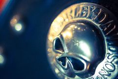 Primo piano del segno metallico del cranio ad una motocicletta Fotografia Stock Libera da Diritti